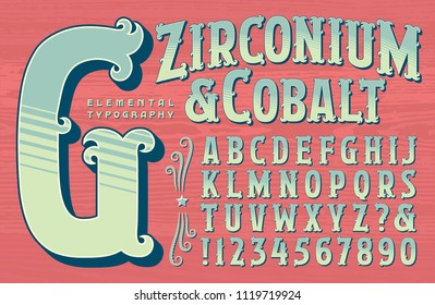 An ornate alphabet in a circus or carnival sign painters style.