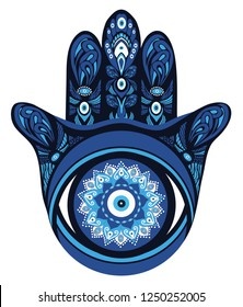 Ornate amulet Hamsa Hand of Fatima. Ethnic obereg against the evil eye and spoilage, common in Indian, Arabic and Jewish cultures.