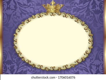 ornate background with royal frame and copy space