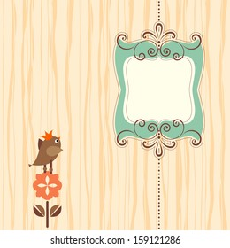 Ornate banner with bird. Elements can be ungrouped for easy editing. Background texture is a seamless pattern.