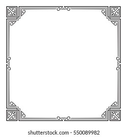Ornate black square frame, corners. Art Nouveau style.