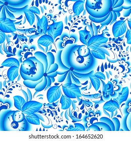 Ornate blue and white floral seamless pattern