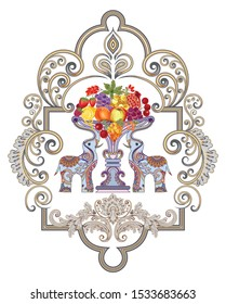 ornate bright frame with curlicues, decorative elephant, bowl of abundance with fruit apple, peach, lemon pomegranate, grapes, cherry and berry