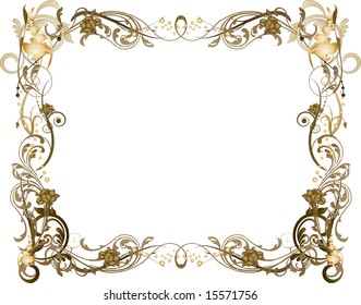 Ornate brown and gold vector illustrated frame