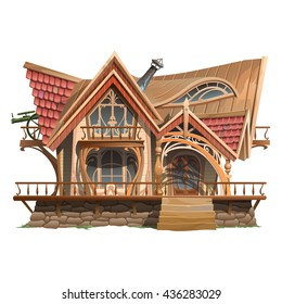 Ornate building in the style of the wild West. Vector.