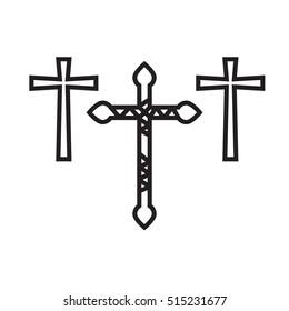 Ornate christian cross art vector illustration set