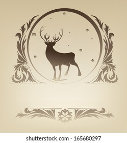 Ornate Christmas background with silhouette standing reindeer