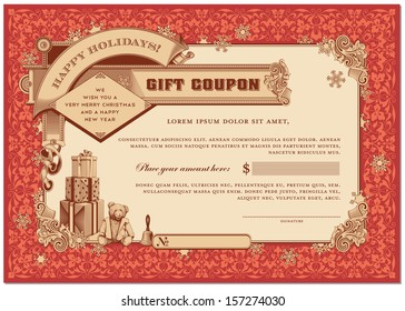 ornate christmas gift certificate with gifts and snowflakes