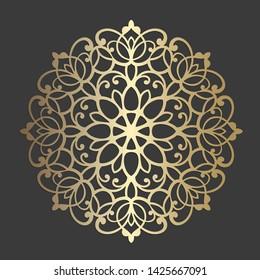 Ornate circle frame. Lace round border. Mandala style vector decorative element.  Lace edged paper doily, wedding decor, design element, cake board cover. Invitation, menu design.