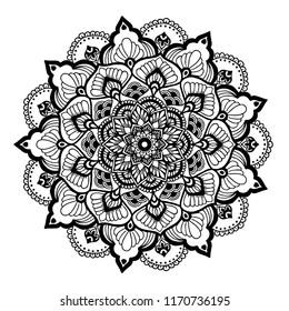 Ornate Circular Mandala Design, Black and White Line Art.