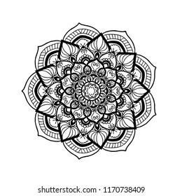 Ornate Circular Mandala Design, Black and White Line Art.Indian Henna tattoo pattern or background.