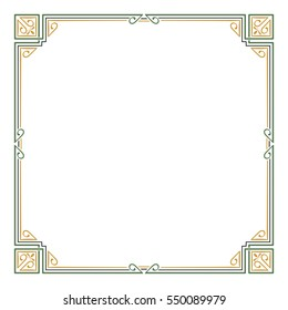 Ornate color square frame, corners. Art Nouveau style.