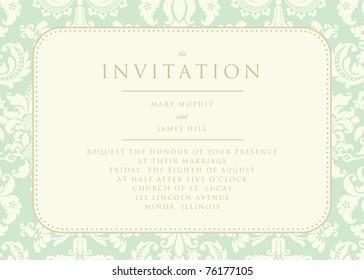 Ornate damask background. The Invitation