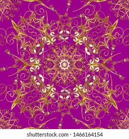 Ornate decoration. Damask gold abstract flower seamless pattern on purple and brown colors. Vector illustration.
