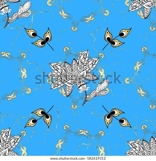 Ornate decoration. Luxury, royal and Victorian concept. Vector vintage baroque floral pattern in gold. Golden pattern on blue background with golden elements.