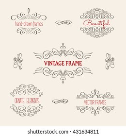 Ornate decorative frames and scroll elements. Vintage Calligraphic brackets, frames, borders.