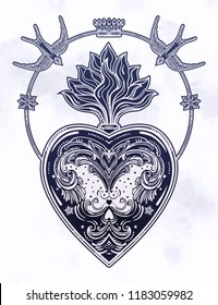Ornate decorative heart with flame