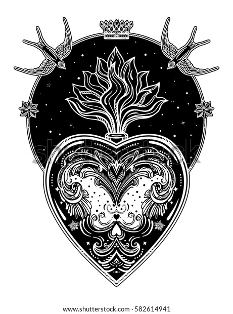 Ornate decorative heart with flame. Vintage gothic style inspired art. Vector illustration isolated. Tattoo design, trendy romance symbol for your use.