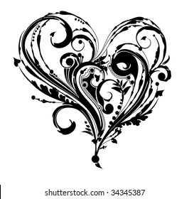 Ornate delicate vector heart, isolated over white