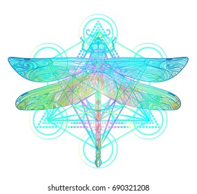 fb89cbc41 Ornate dragonfly over colorful round sacred geometry. Ethnic patterned  vector illustration. African, indian