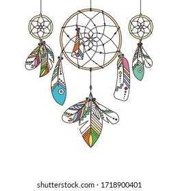 Ornate dream catcher with feathers. Vector abstract illustration, modern line style. Background or greeting card with place for your text