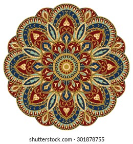 Ornate, eastern mandala with golden contour. Vector, round, colorful ornament isolated on a white background.