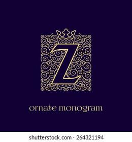 Ornate and elegant monogram design for a single letter Z with crown. Outline. Vector illustration.
