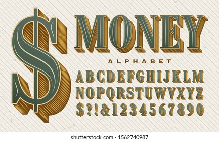 An ornate and elegant vector alphabet. This green and gold font has the stylings of money, stock certificates, and other financial instruments. Gives an expensive look to headline lettering.