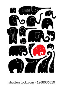 Ornate elephant collection, sketch for your design