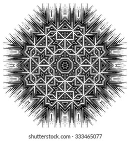 Ornate ethnic mandala or festive snowflake. Monochrome editable  luxury oriental motif. Fantasy element for design. Vintage black and white vector illustration.Fantasy symbol  on  white background.
