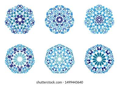 Ornate floral mosaic ornament heptagon symbol set - geometric abstract ornamental vector design elements