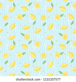 Ornate floral pattern with lemons and flowers in vector graphic images on light blue background