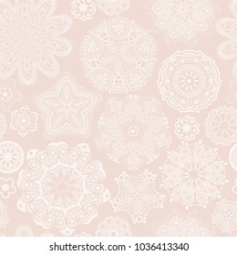 ornate floral seamless texture, endless pattern with flowers looks like retro snowflakes or snowfall. Seamless pattern can be used for wallpaper, pattern fills, web page background, surface textures