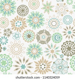 Ornate floral seamless texture, endless pattern with flowers looks like retro snowflakes or snowfall.