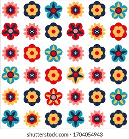 Ornate floral seamless texture, endless pattern with flowers. Colorful background.