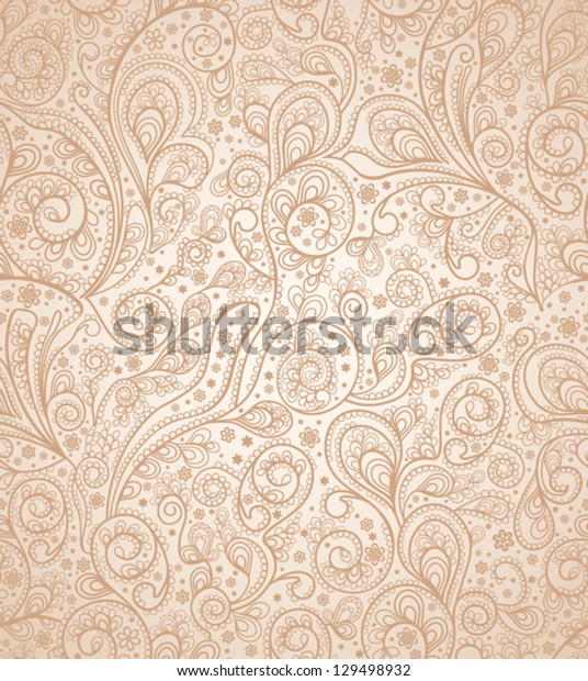 Ornate floral seamless texture, endless pattern with swirls and flowers.  Gentle seamless background.