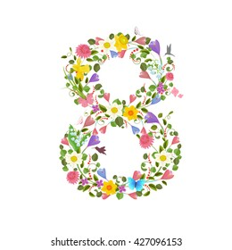 ornate font consisting of the spring flowers and flying hummingbirds. floral number eight