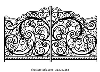 Ornate forged vector gates. EPS 8