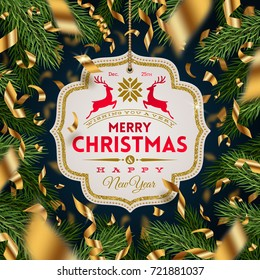 Ornate frame with Christmas greeting and golden foil confetti on a christmas tree branches background. Vector illustration.