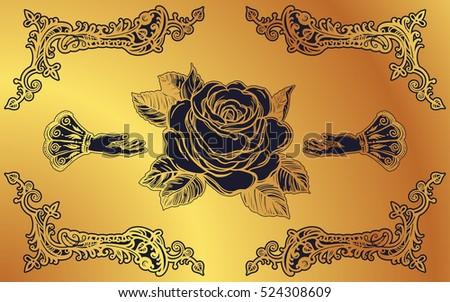 ornate frame tattoo cat ornate frame with hand drawn elegant vintage rose flower isolated vector illustration victorian motif frame hand drawn elegant vintage stock vector royalty free