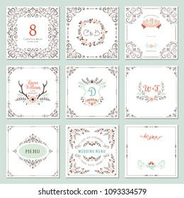 Ornate frames design and rustic wedding elements set. Flourish card templates. Vector illustration.