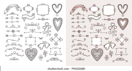 Ornate frames and hearts elements. Black and white and colorful version set.