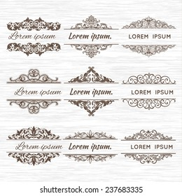 Ornate frames and scroll elements. Label and vintage page or sample text.