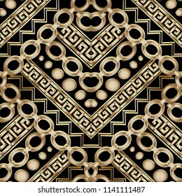 Ornate gold 3d geometric vector seamless pattern. Greek key meander background. Abstract ornamental decorative ethnic style design. Modern ornament with stripes, borders, chain, zigzag, doodle shapes.