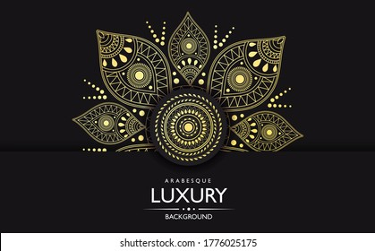 Ornate gold Luxury mandala with intricate pattern over a black background with text, colored vector illustration