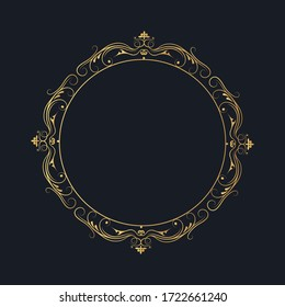 Ornate golden filigree frame. Vintage round border. Vector isolated gold swirl template. Royal wedding invitation card decor.