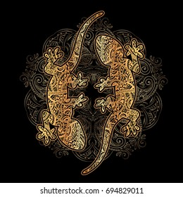 Ornate golden lizard decorated ethnic ornaments and sumptuous patterns with a mandala and silver waves on a black background. For tattoo, embossing, printing on fabric, design of T-shirts