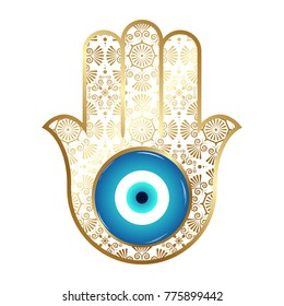 Ornate hamsa, Gold amulet against the evil eye and spoilage. Vector illustration.