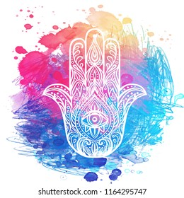 Ornate hand drawn hamsa. Popular Arabic and Jewish amulet. Vector illustration over colorful watercolor splash.