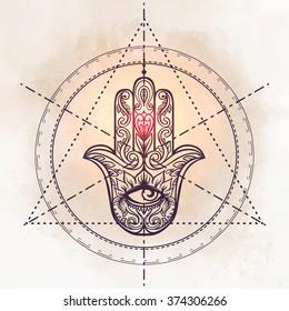 Ornate hand drawn hamsa. Popular Arabic and Jewish amulet. Vector illustration. Sacred geometry.